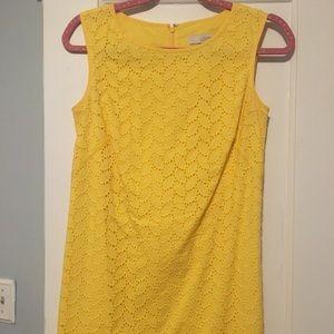 Ann Taylor Loft Yellow Eyelet Dress